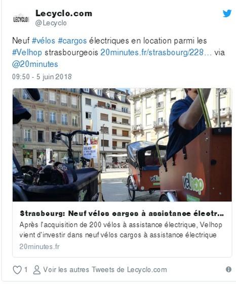 Velhop Strasbourg - location cargo électrique