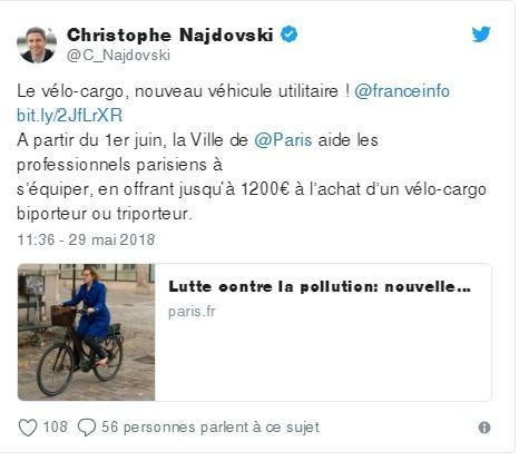 La mairie de Paris - 1200€ pour les biporteurs