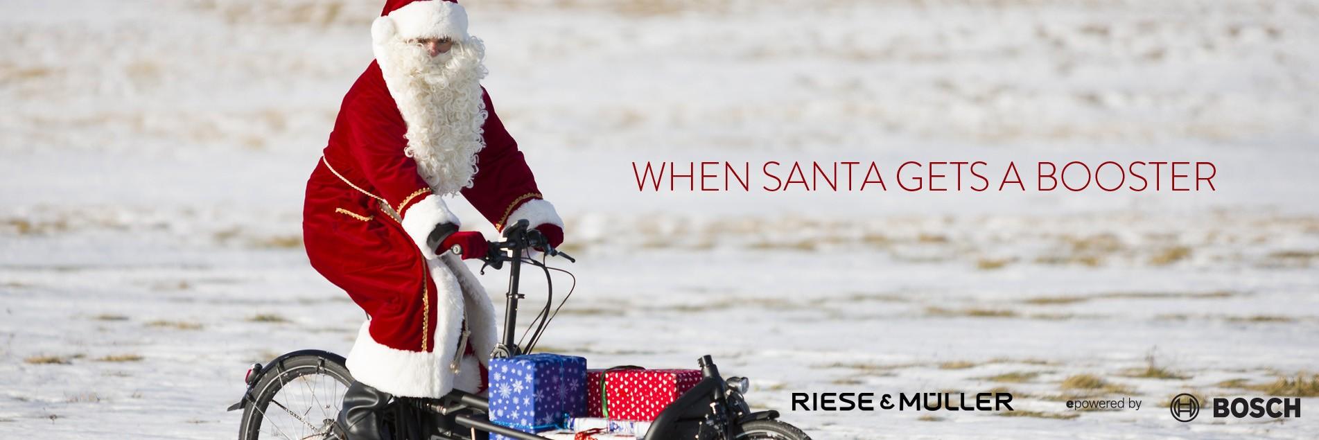 Santa on e cargo bike